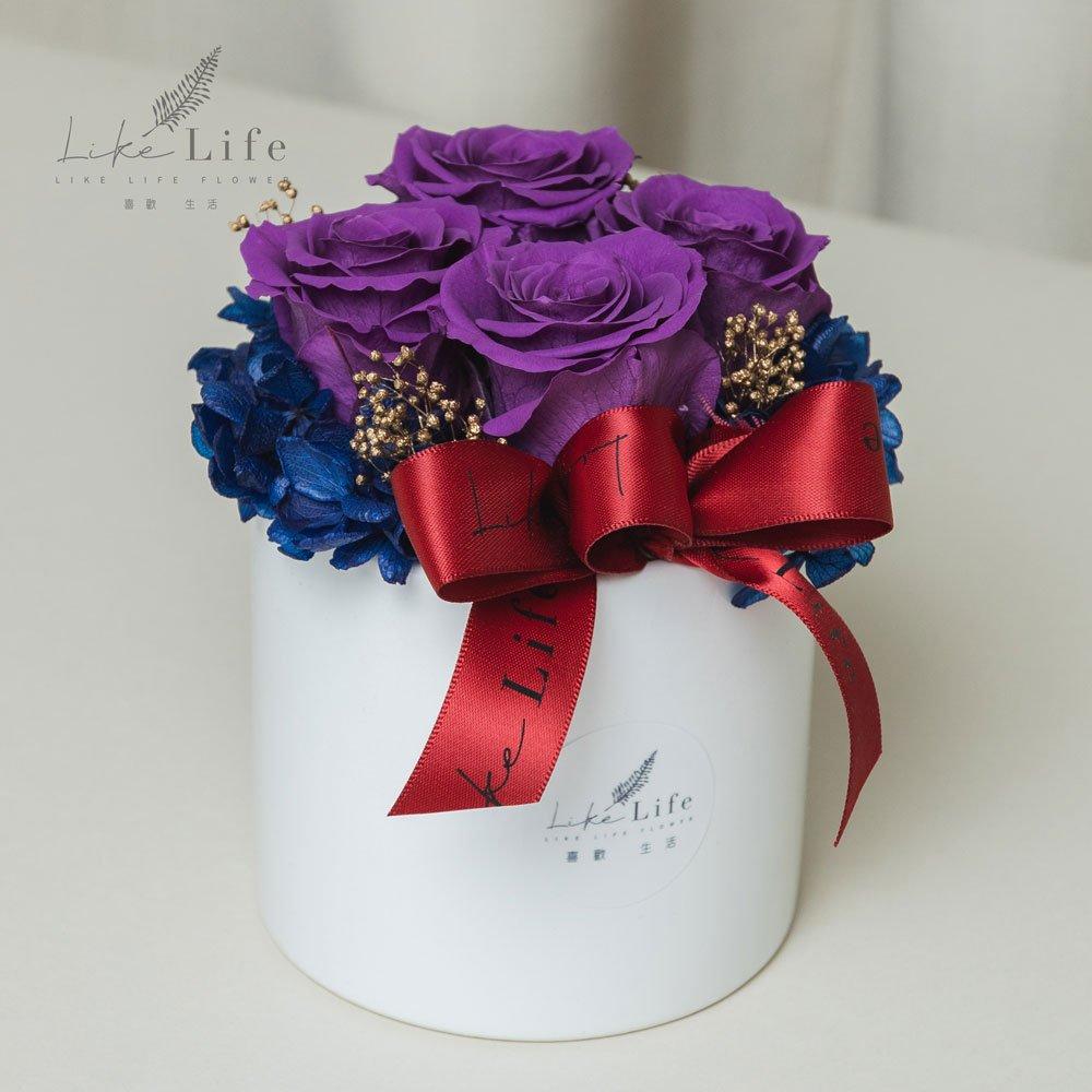 開幕盆栽四朵永生玫瑰花盆栽紫色,永生花開幕盆花,開幕賀禮,台北喜歡生活乾燥花店