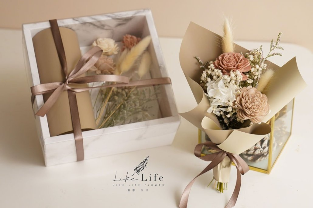 乾燥花花束材料包2,奶茶色乾燥花花束DIY教學