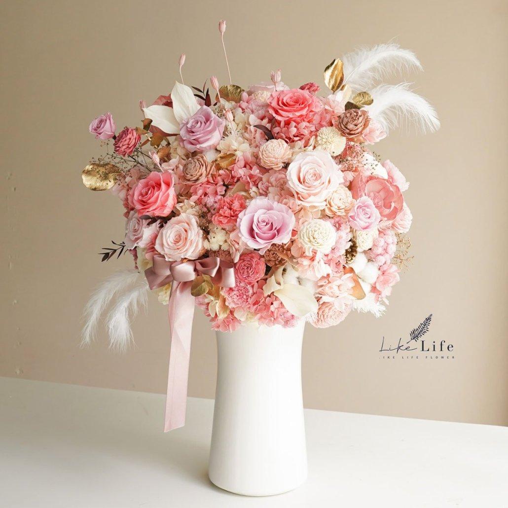 大型永生花盆栽粉色作品