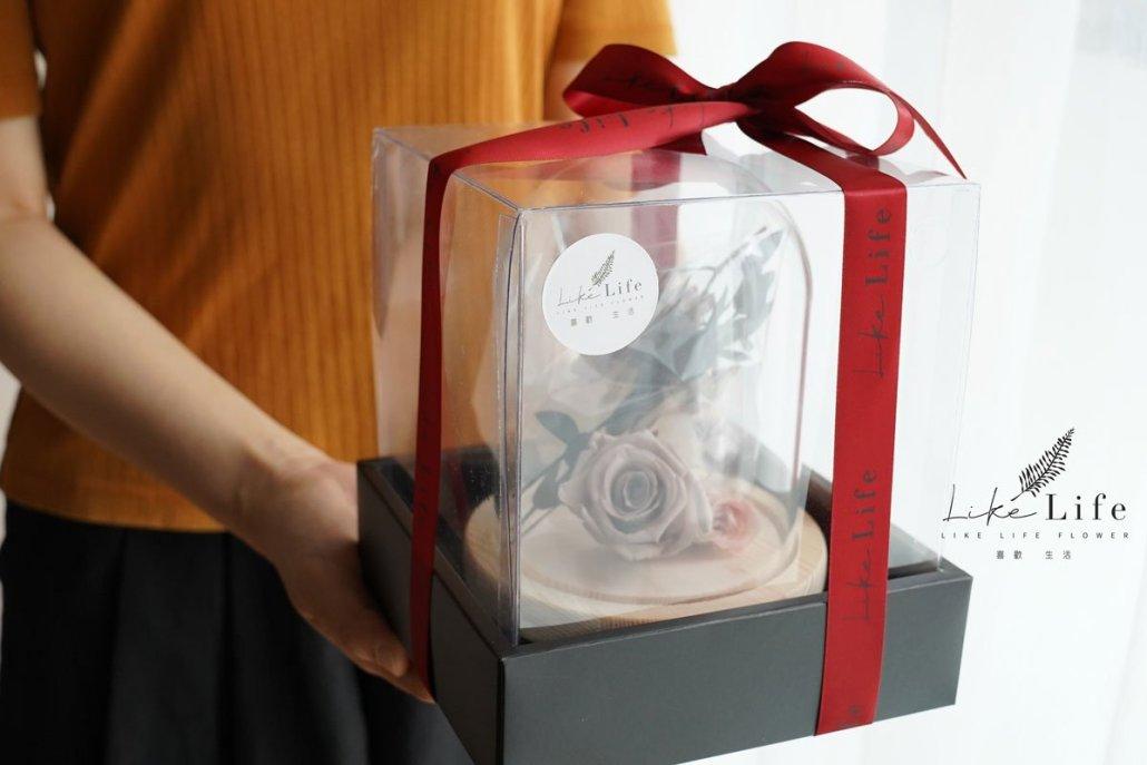 永生花玻璃罩材料包手拿,永生花禮盒奶茶色