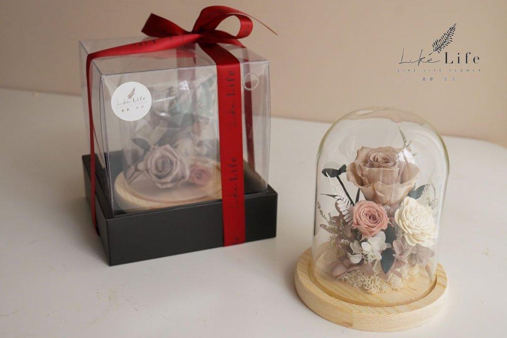 永生花玻璃罩材料包1,玫瑰花禮盒