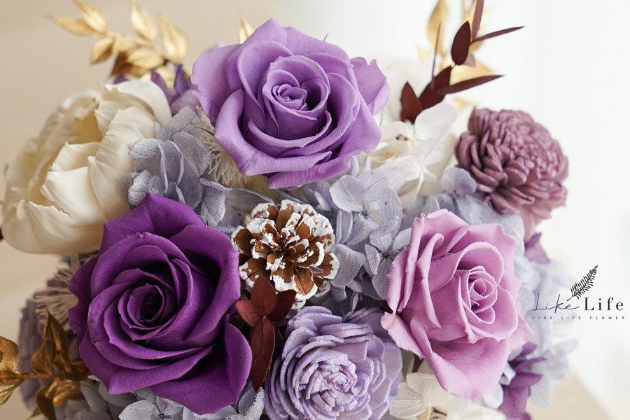 永生花盆栽-古典紫色永生花特寫,永生花紫色開幕盆栽