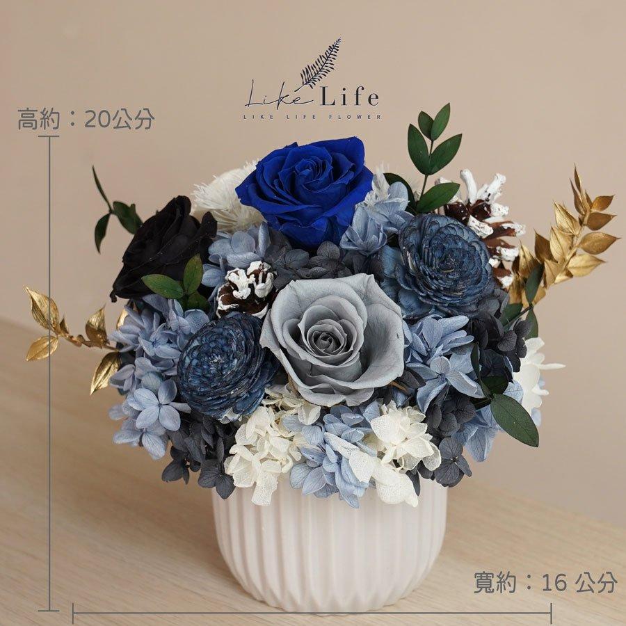 永生花盆栽-古典藍色永生花公分,永生花開幕盆栽