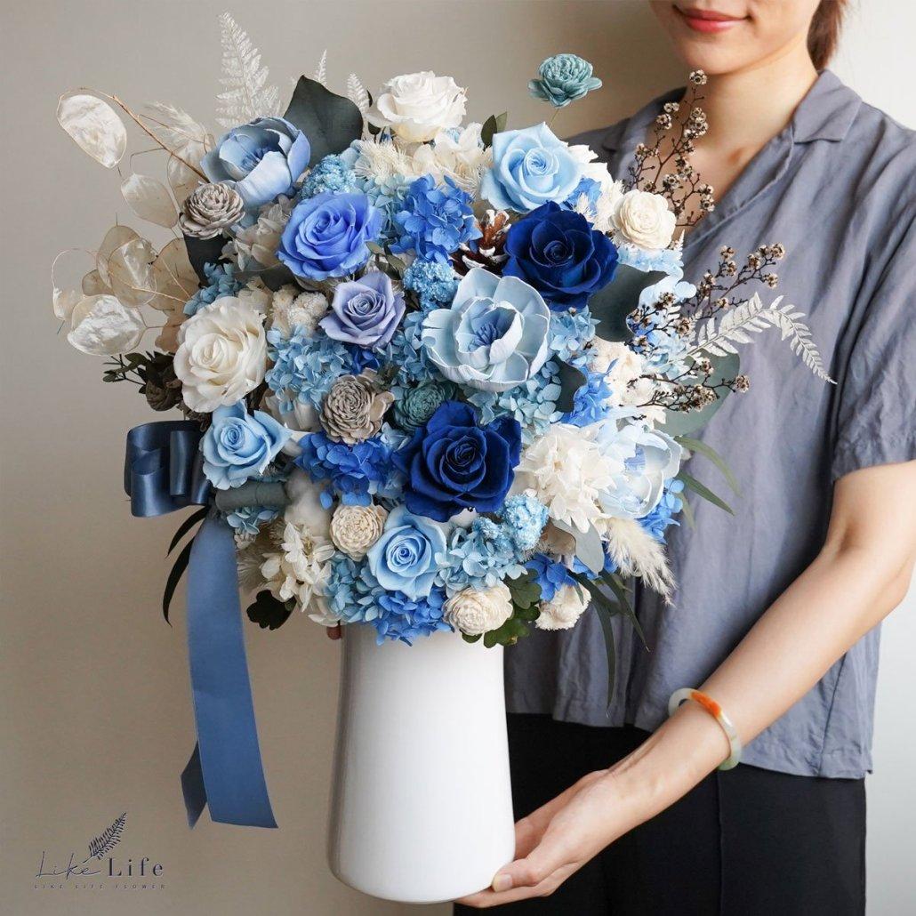 藍色永生花大型盆栽-喜歡生活乾燥花店