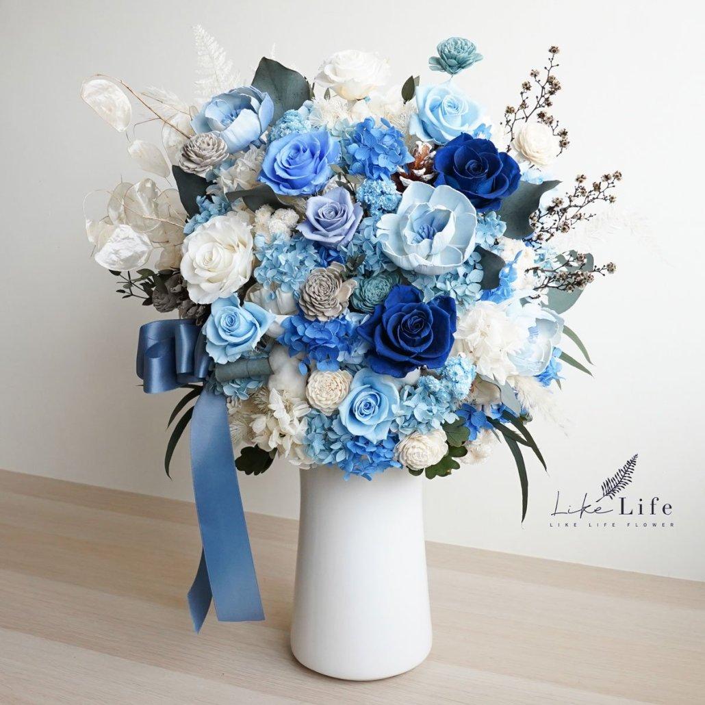 藍色永生花盆栽-大型永生花盆栽