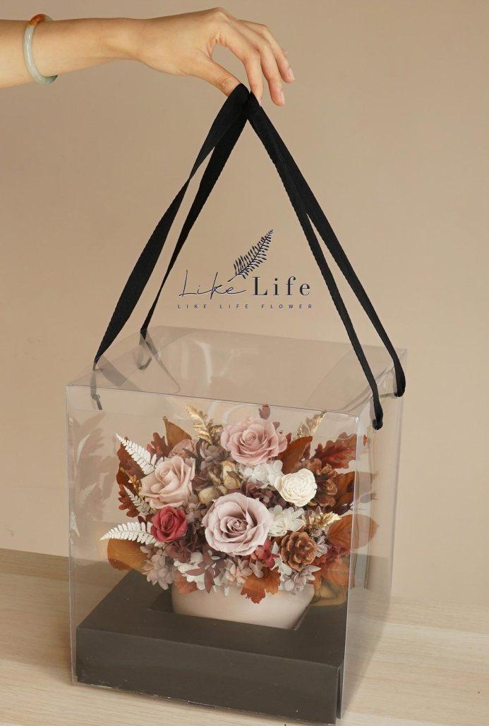 手拿提盒,喜歡生活乾燥花店,開幕盆栽,永生花盆栽