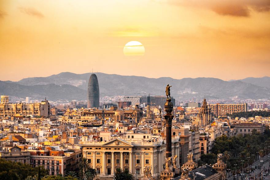 view of Barcelona skyline at sunset