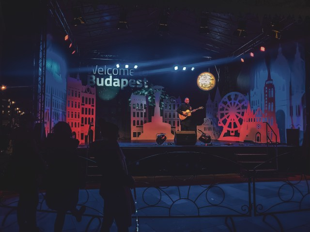 "man on a neon lit stage playing the guitar in front of a sign that says ""welcome to budapest"""