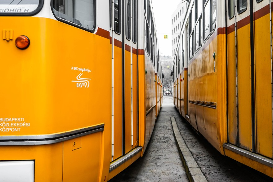 yellow tram narrow track