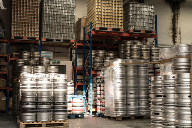 beer kegs stacked pallets