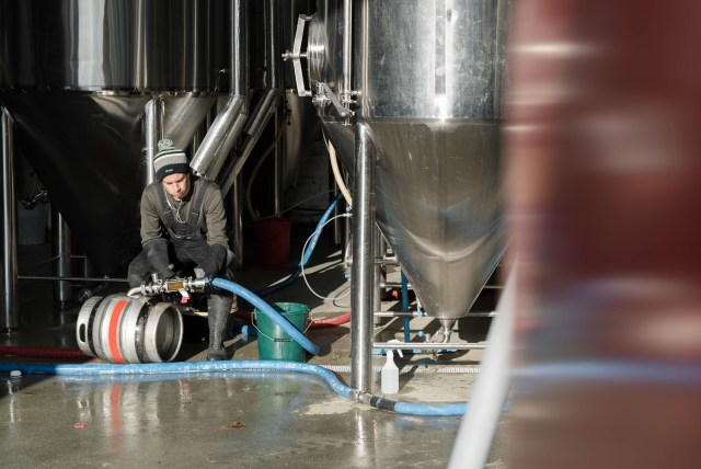 gleaming silver beer tanks