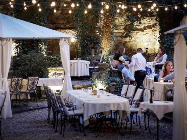 Pavillon de Paris budapest outdoor terrace lined with white-clothed tables lights and greenery