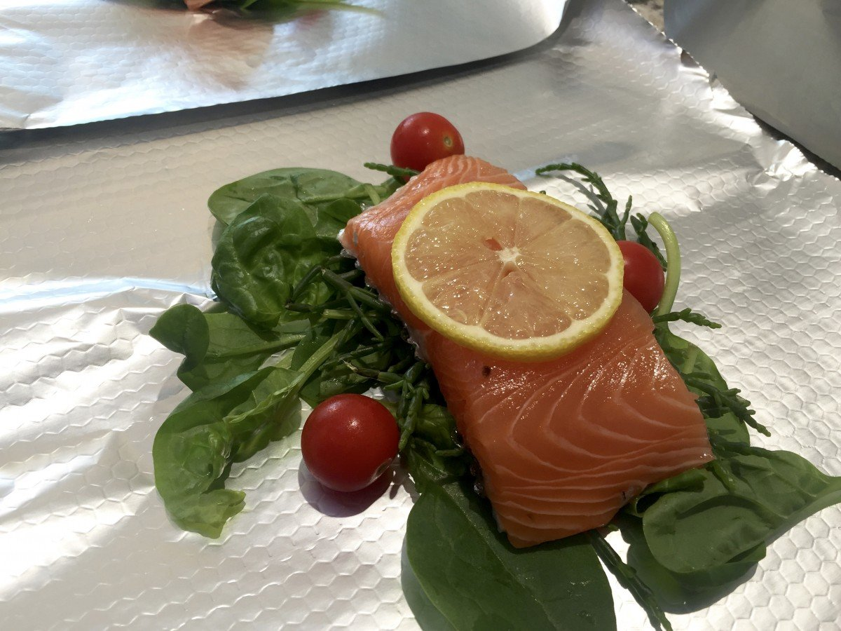 Salmon, Samphire and Spinach Parcels