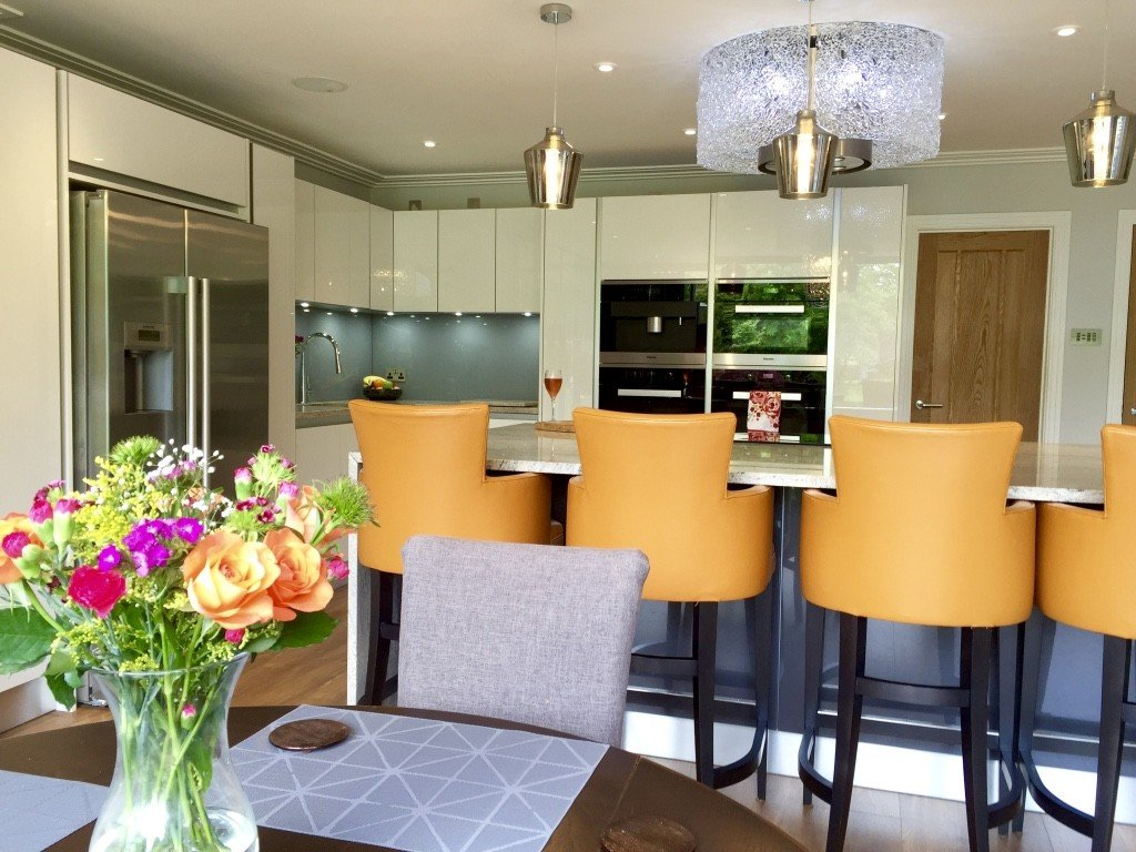 Modern contemporary white kitchen barstools
