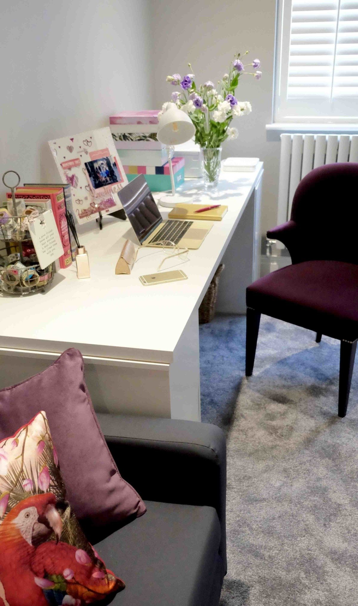 create your own personal space with pink and gold desk theme