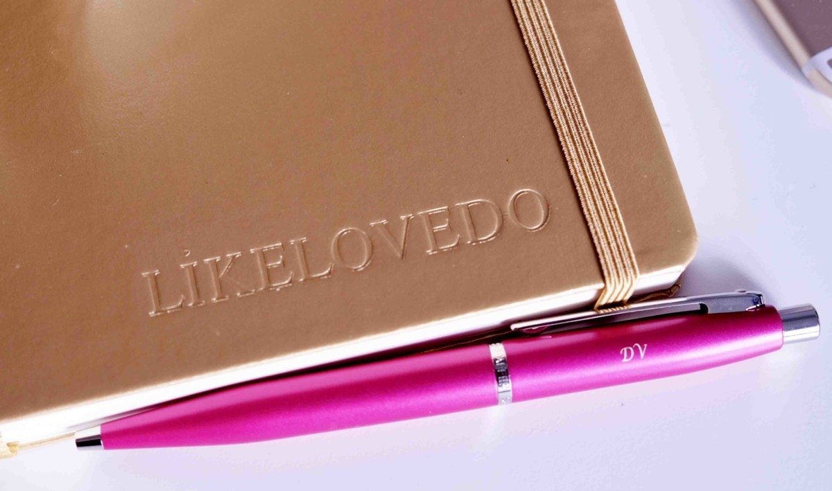 embossed gold leather journal personalised desk space pen heaven