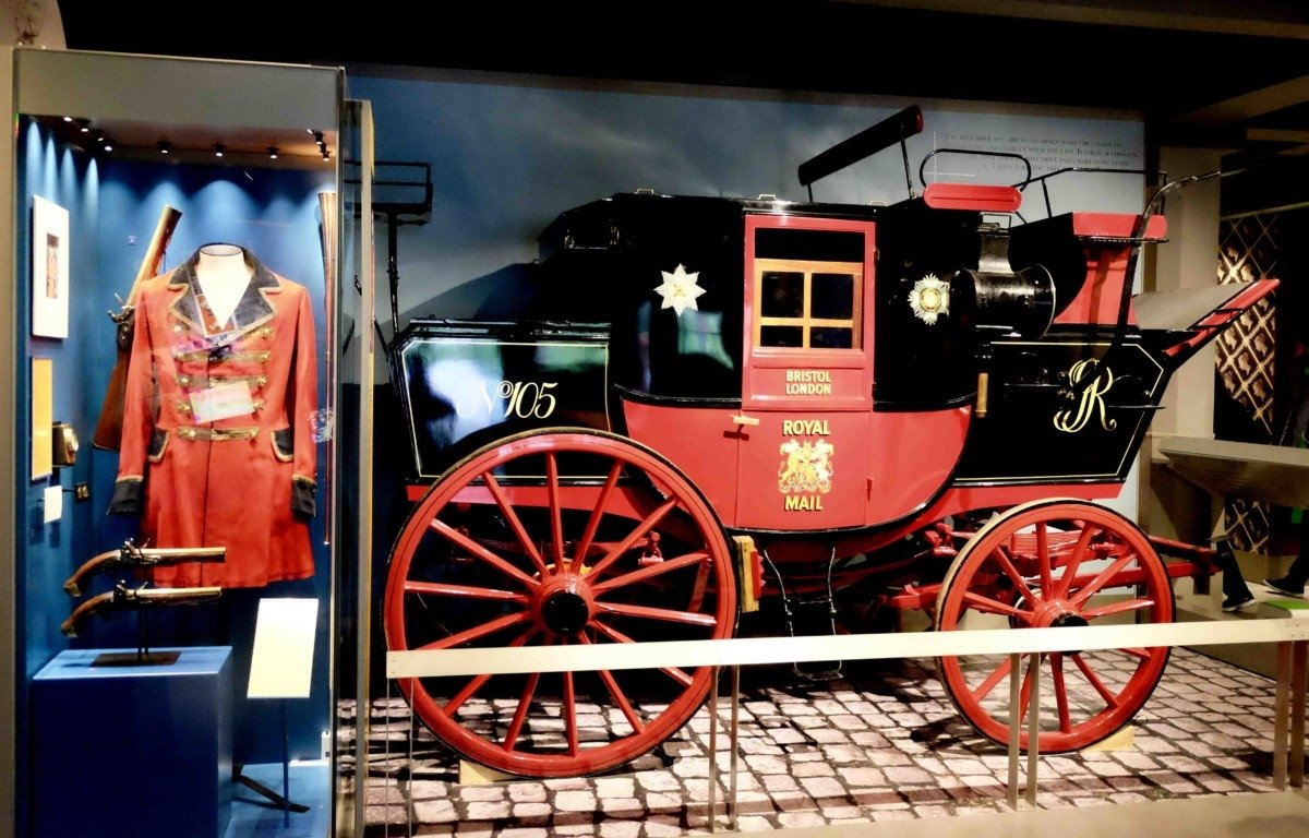 The Mail Rail and postal museum stage coach 1800