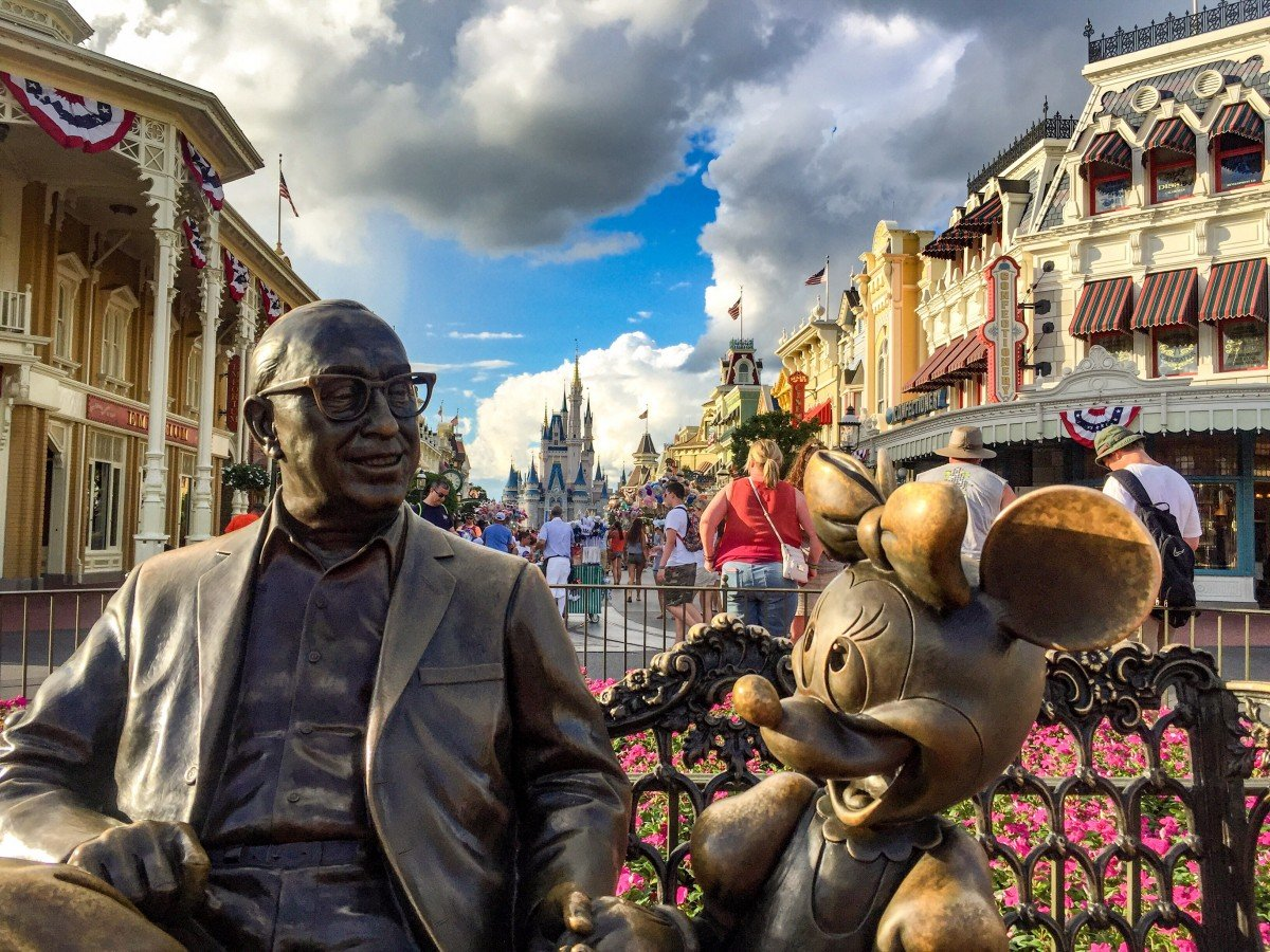 Walt disney and Minnie Mouse bronze statue at Walt Disney World Florida