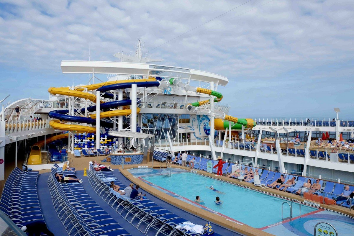 The pool and slides onboard symphony of the seas Royal Caribbean the perfect storm