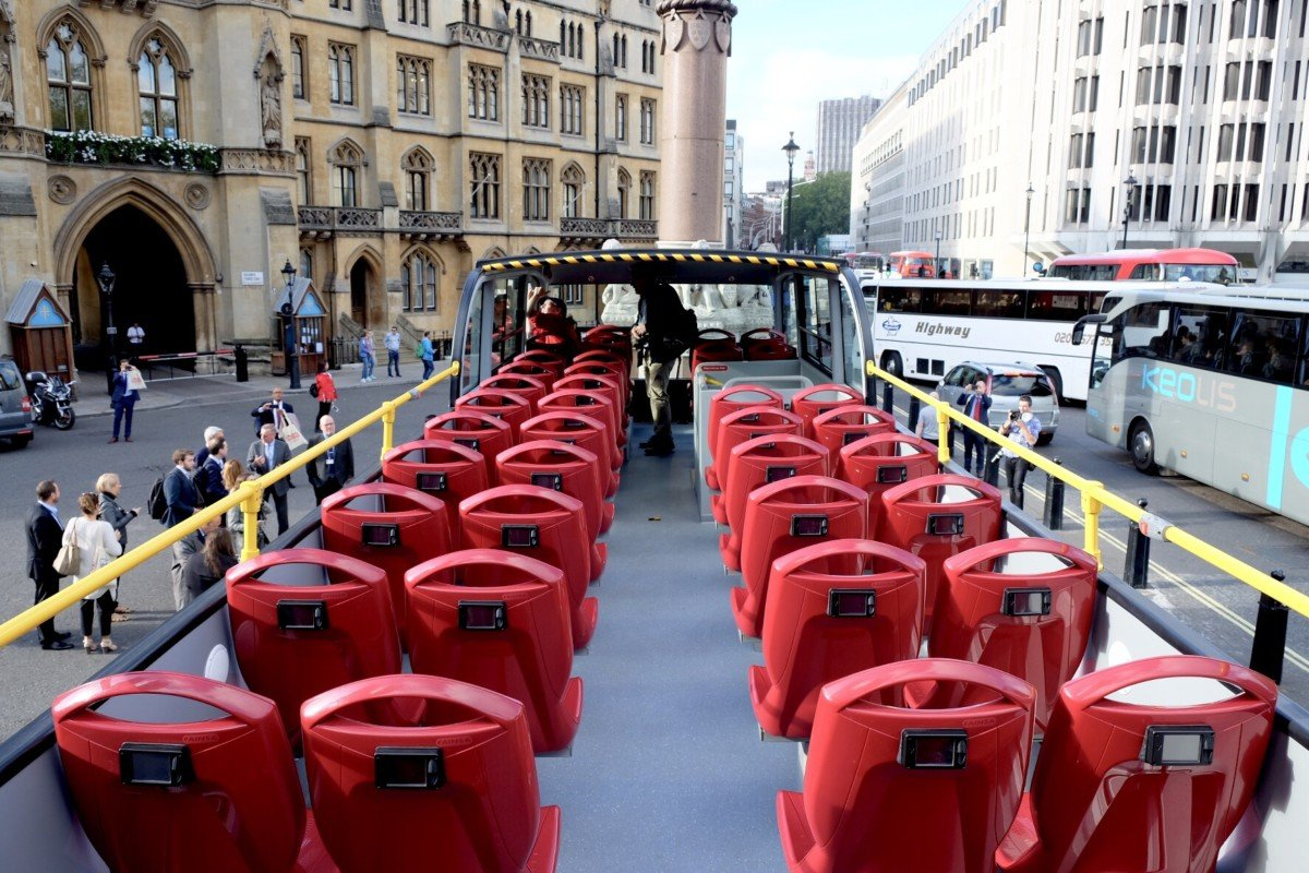 The Original Tours First 100% Electric Open Top Tour Bus in London upstairs view
