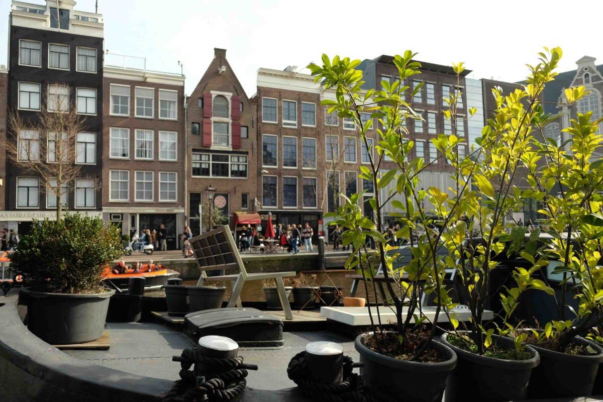 Anne Franks House Amsterdam View from across the river