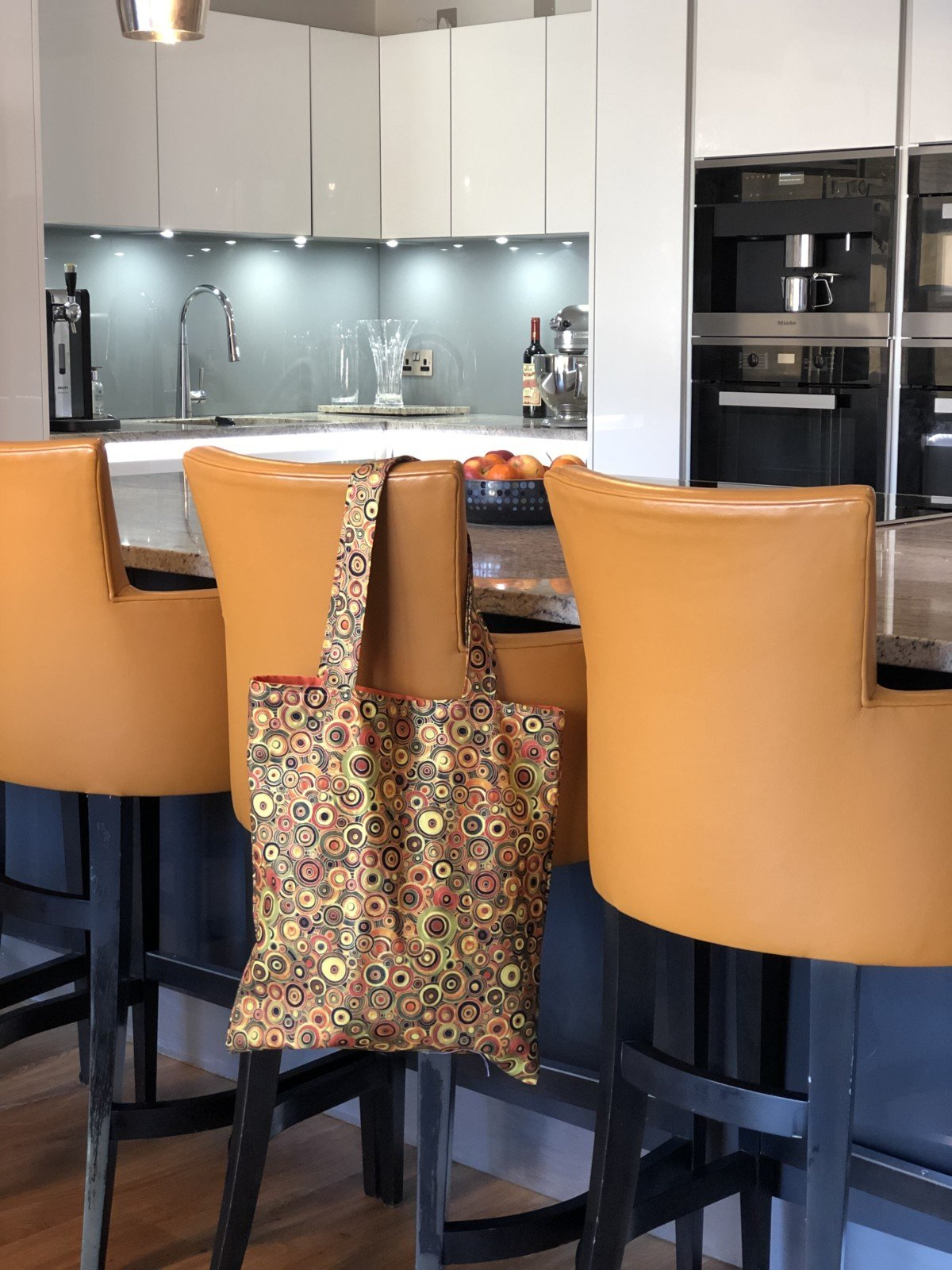 We also made a trendy tote bag to carry it all home in. I love it sew much it even matches the kitchen! Home made tote bag made in Essex