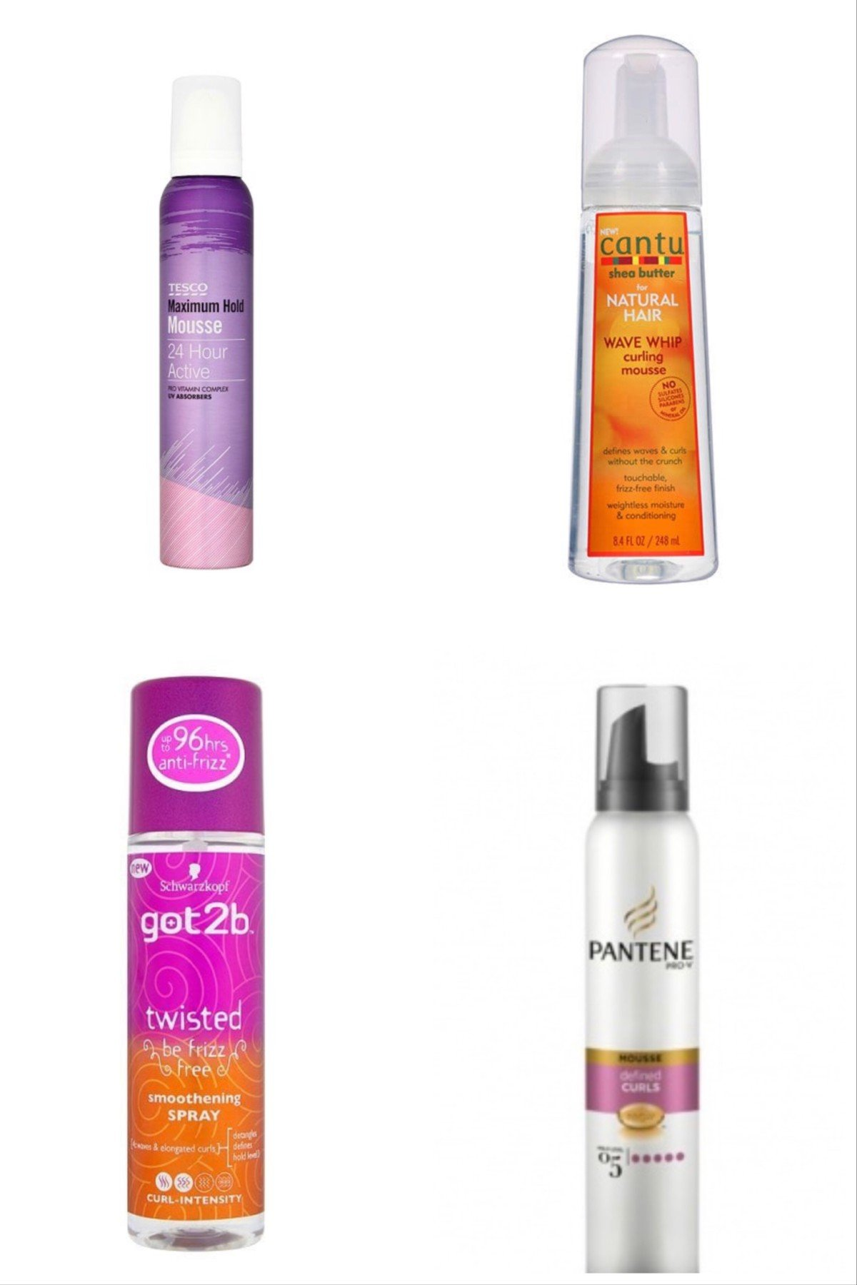 Curly Girl method styling mousse and sprays in UK supermarkets and drugstores