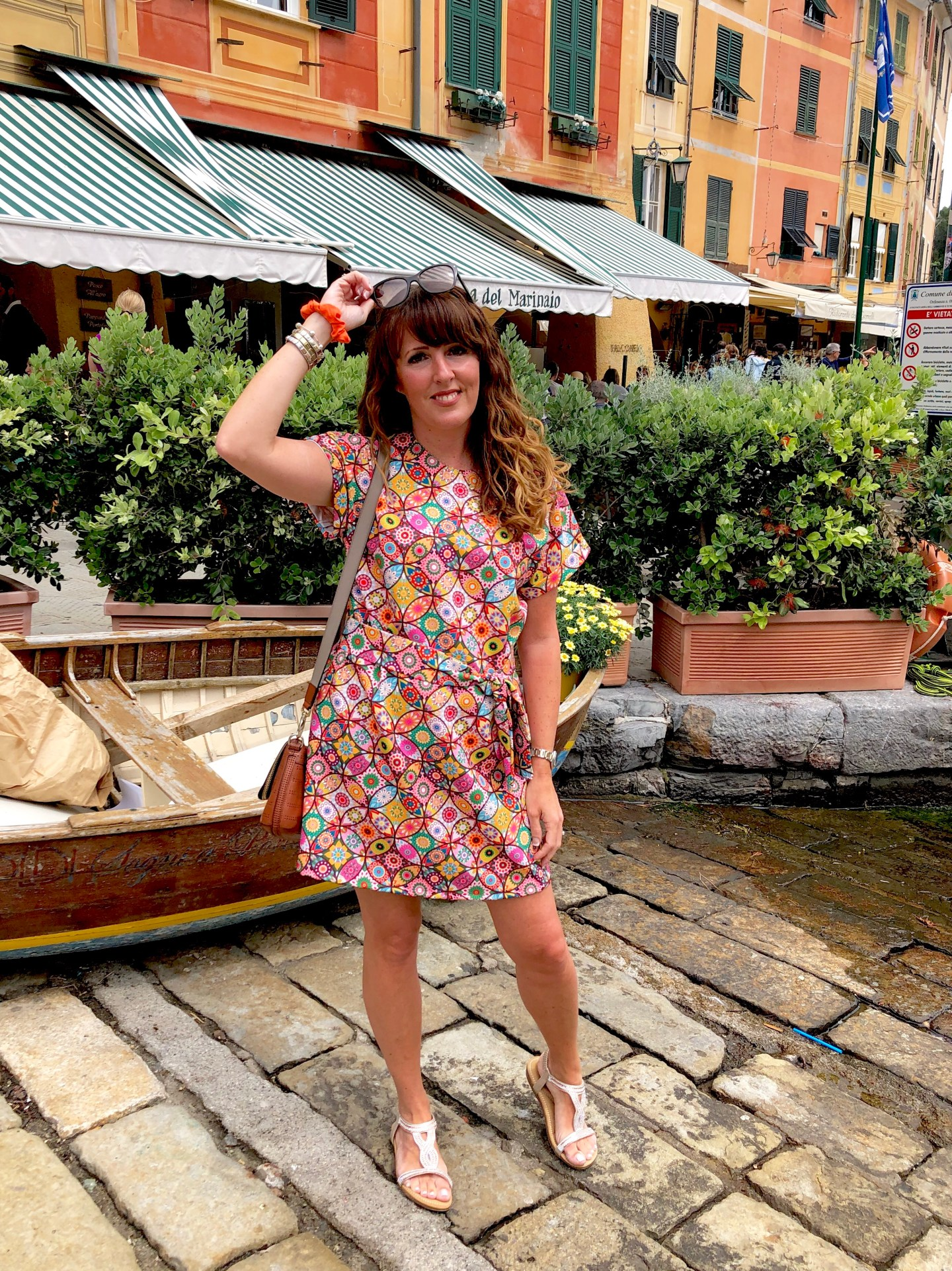 A Tilly and the Buttons Stevie dress pattern made in Scuba fabric purchased in spain photo taken in Portofino Italy
