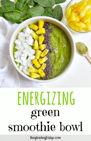 I am really into these green smoothie bowls right now! They are so cute. Plus, this one adds matcha green tea powder so you can forgo the morning coffee and simplify your meal prep time. Ingredients: spinach/kale, banana ,almond milk, berries, flaxseed, maca powder, matcha powder http://www.theglowingfridge.com/energizing-green-smoothie-bowl/