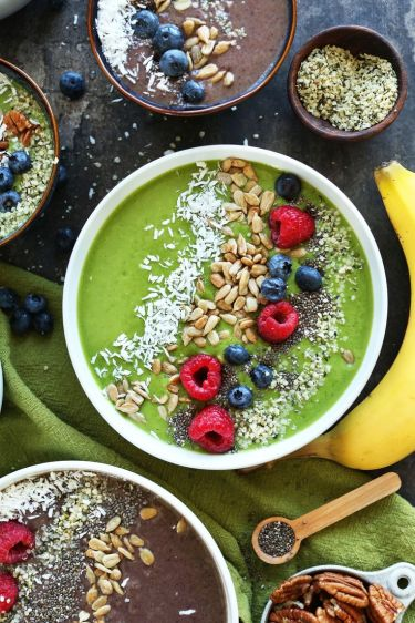 Have you heard of bowl smoothies? Think about it like yogurt, with even more nutrients. This recipe from the Minimalist Baker is a great one to get started with. If you're not ready for the bowl with the green smoothie color, throw it all in the blender and drink it from a glass. Ingredients: Avocado, banana, berries, spinach, kale, milk, flax seed, almond butter, sunflower seeds, nuts, coconut, hemp seeds http://minimalistbaker.com/super-green-smoothie-bowl/#_a5y_p=3709930