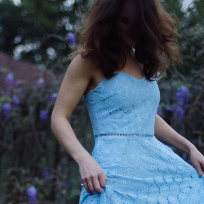 Lovely Blue Lace Dress for Spring