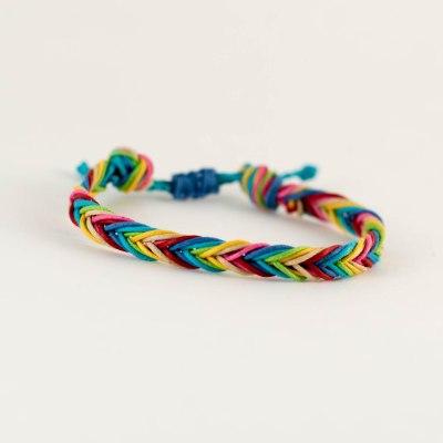 DIY Rainbow Fishtail Braid Macrame Friendship Bracelet