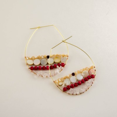 DIY Wire Wrapped Beaded Hoop Earrings