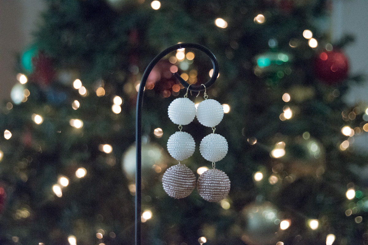 diy beaded ball drop earrings