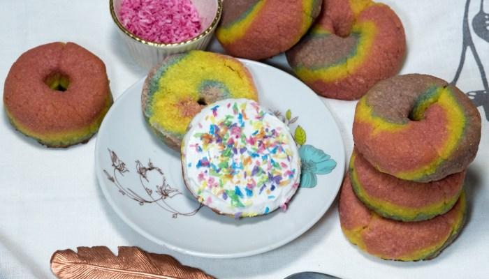 Grain-Free Rainbow Bagel Recipe with Dairy-Free Cream Cheese & Paleo Rainbow Sprinkles