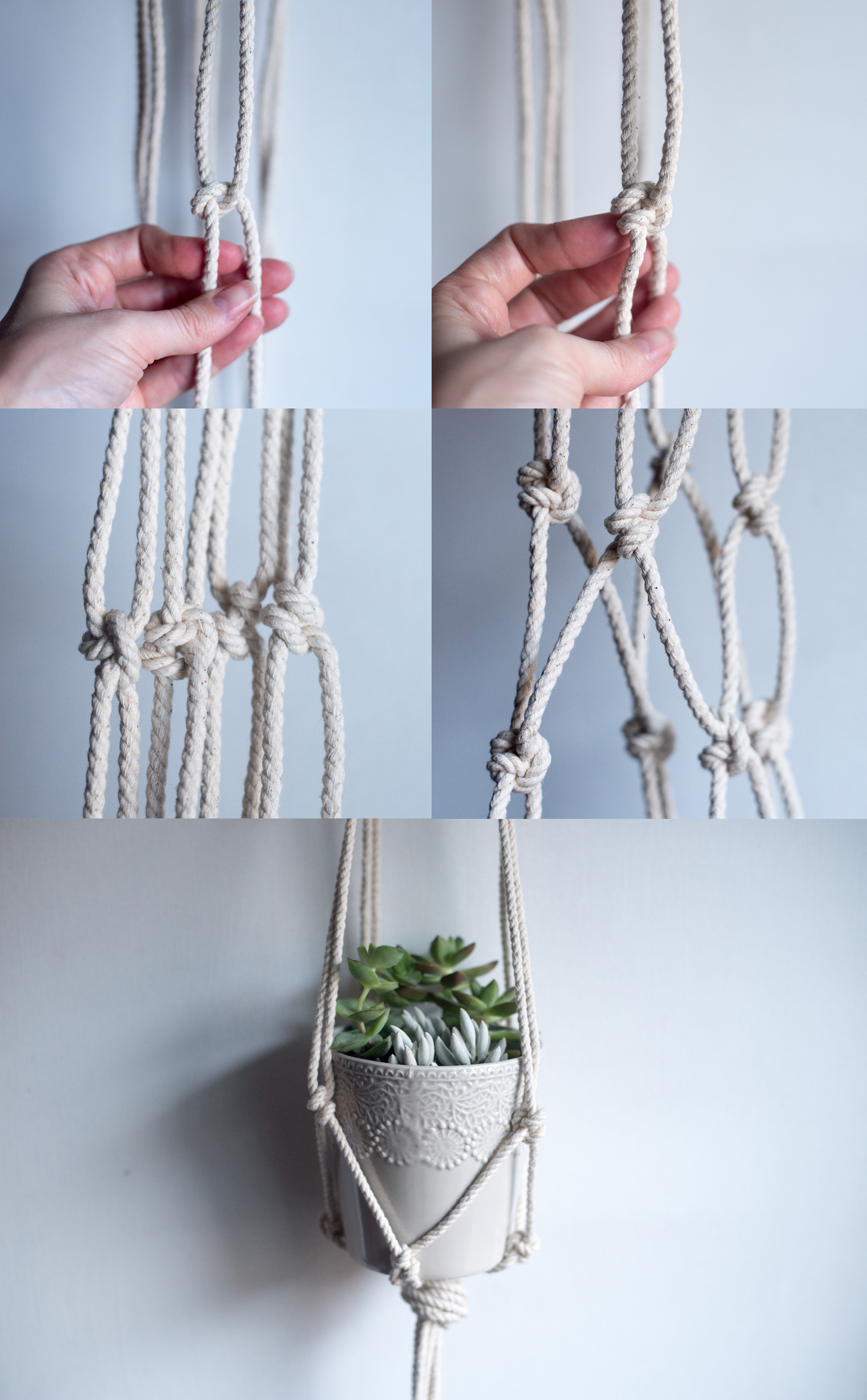 DIY macrame hanging planter net