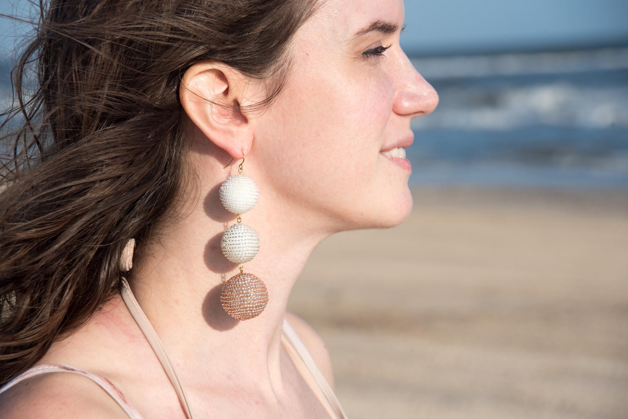 make ombre ball earrings