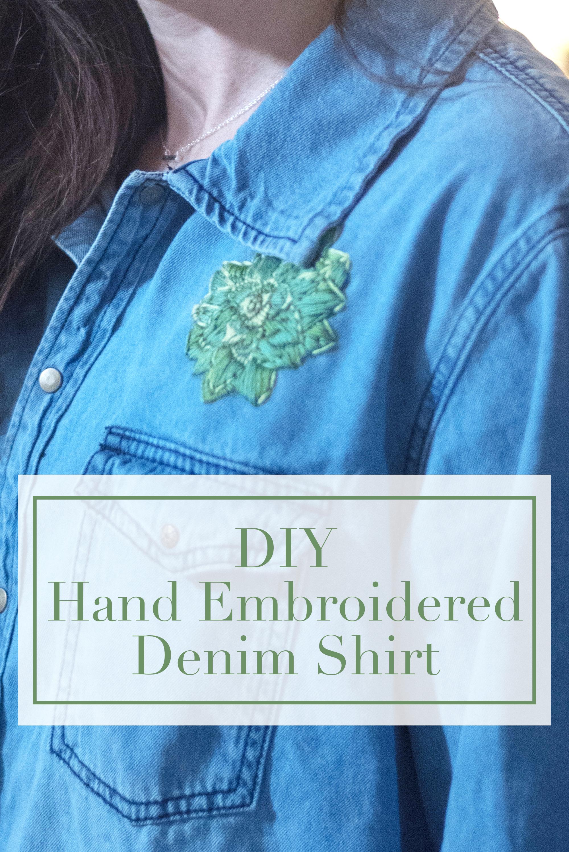 hand embroidered denim shirt diy