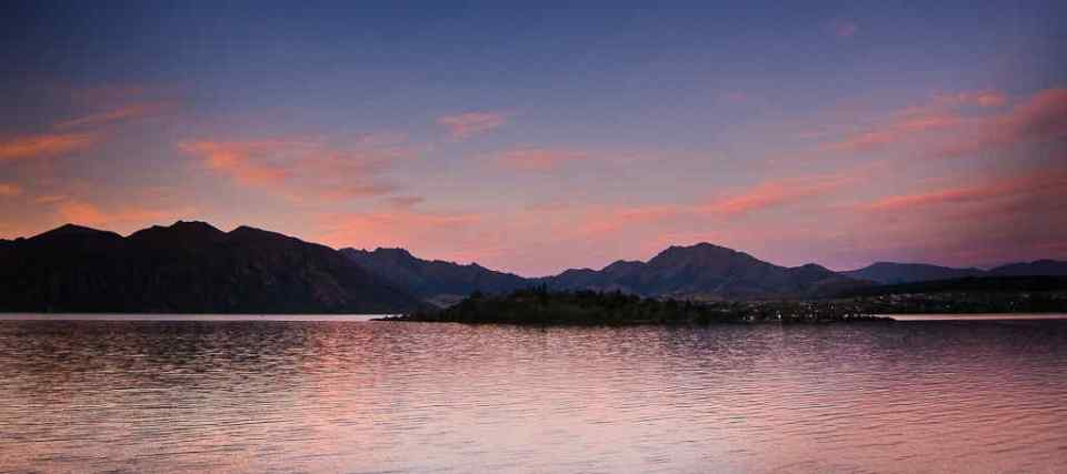 Ruby Island Lake Wanaka sunset by Donald Lousley.
