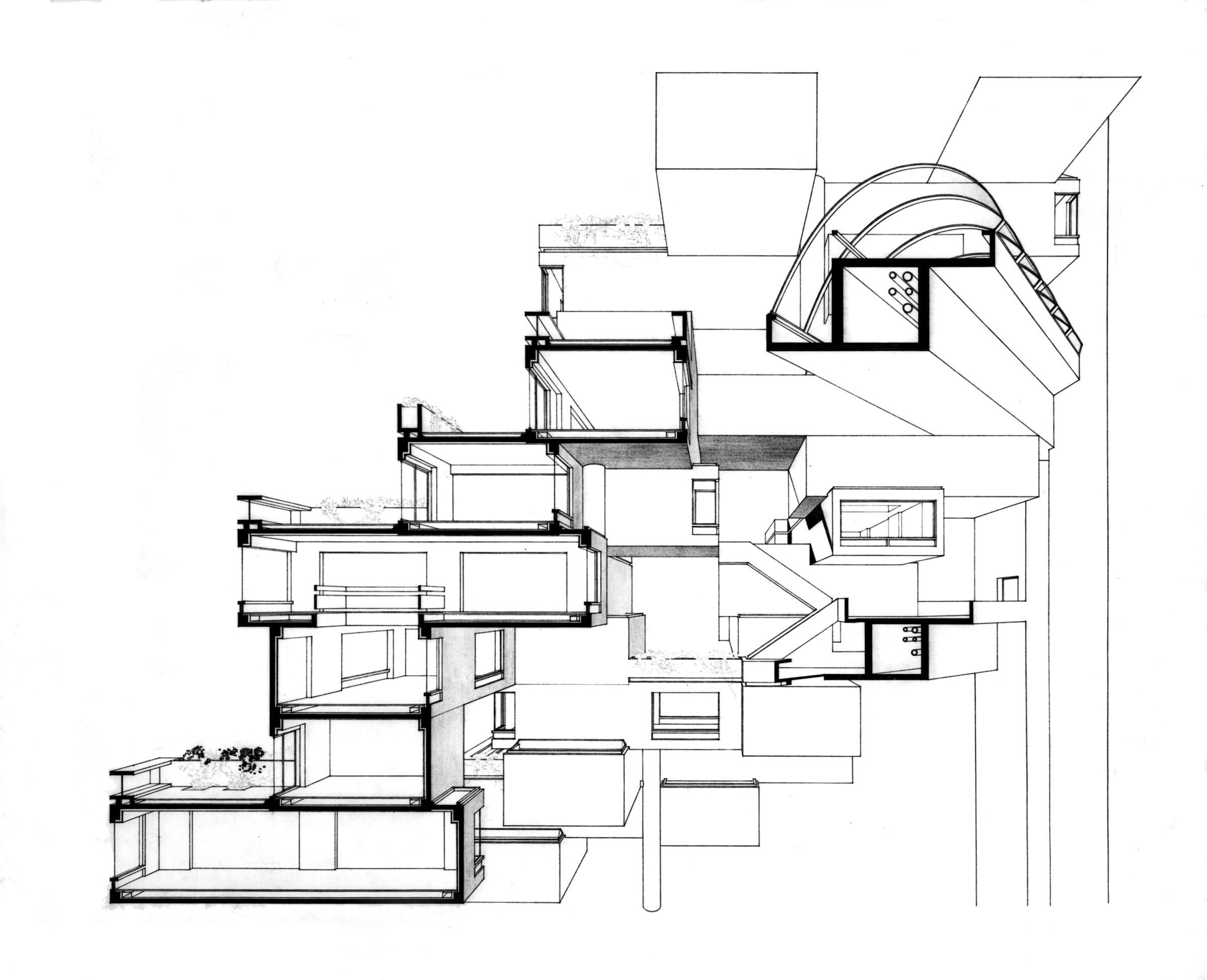 Looking Back Concrete Modular Prefab Habitat 67