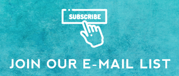 """teal textured background with white text reading """"Subscribe - join our email list"""" with a hand outline clicking the subscribe button."""