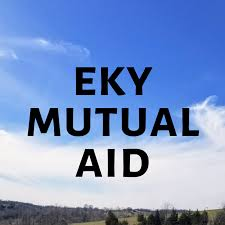 """Square image of a sky and horizon. Black text reading """"EKY Mutual AID"""""""