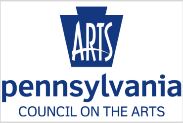 """Pennsylvania Council on the Arts with stylized logo at the top depicting a dark blue building with the word """"arts"""" written in white across it."""