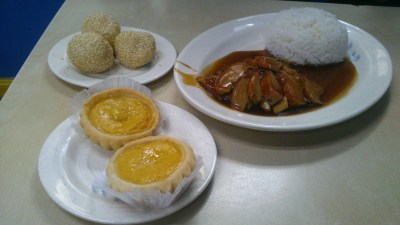 Roasted Duck Rice, Php 190.00; Egg Tarts, Php 70.00; Buchi, Php 70.00