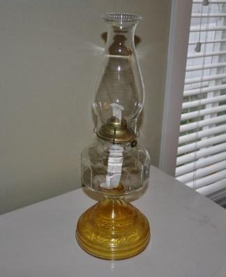 Vintage glass kerosene lamp with Eagle burner.
