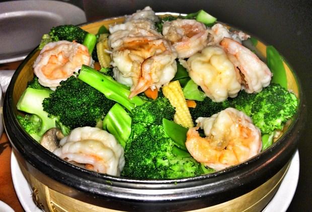 Steamed Shrimp with Garden Vegetables