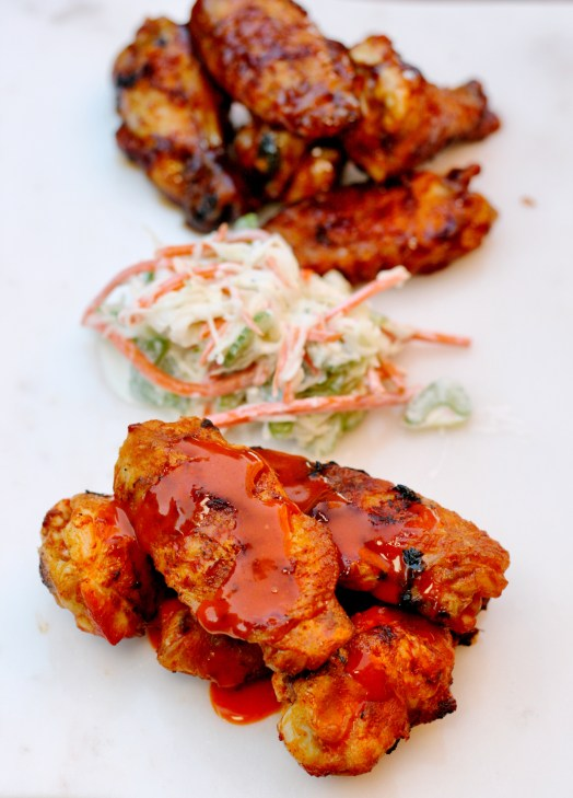Grilled Wings with Carrot-Celery Slaw