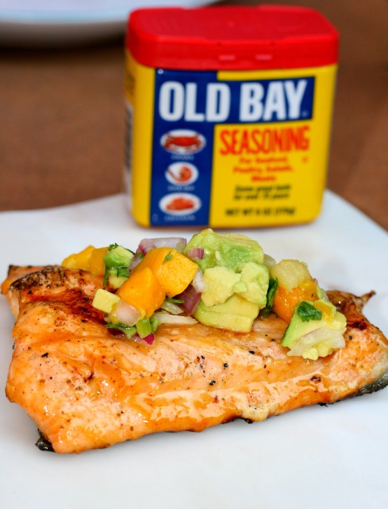 Honey Old Bay Salmon with Pineapple Mango Salsa