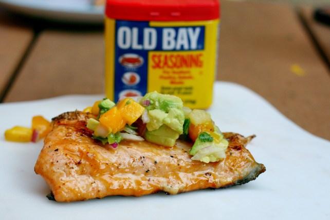 Honey Old Bay Glazed Salmon with Pineapple Mango Salsa
