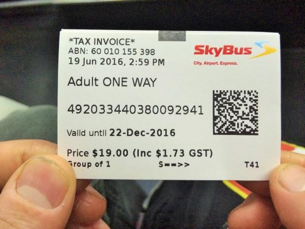 Passagem de ida do Skybus
